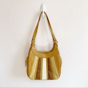 Vintage 70s Tan Striped Faux Leather Shoulder Bag